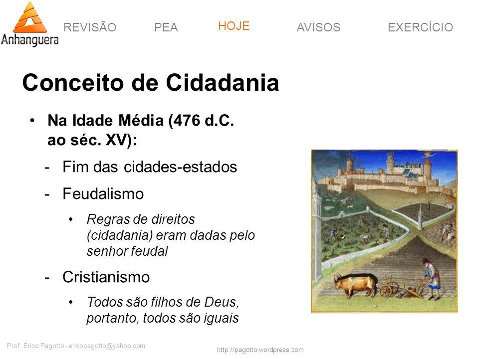 REVISÃOPEAHOJEEXERCÍCIOAVISOS http://pagotto.wordpress.com Prof. Érico Pagotto - ericopagotto@yahoo.com Conceito de Cidadania Na Idade Média (476 d.C.