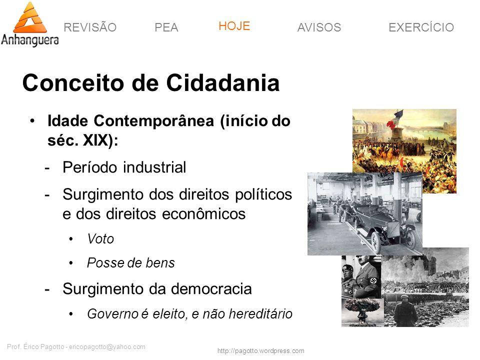 REVISÃOPEAHOJEEXERCÍCIOAVISOS http://pagotto.wordpress.com Prof. Érico Pagotto - ericopagotto@yahoo.com Conceito de Cidadania Idade Contemporânea (iní