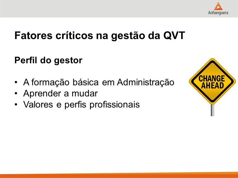 Fatores críticos na gestão da QVT Perfil do gestor A formação básica em Administração Aprender a mudar Valores e perfis profissionais