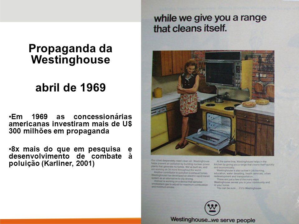 Propaganda da Westinghouse abril de 1969 Em 1969 as concessionárias americanas investiram mais de U$ 300 milhões em propaganda 8x mais do que em pesquisa e desenvolvimento de combate à poluição (Karliner, 2001)