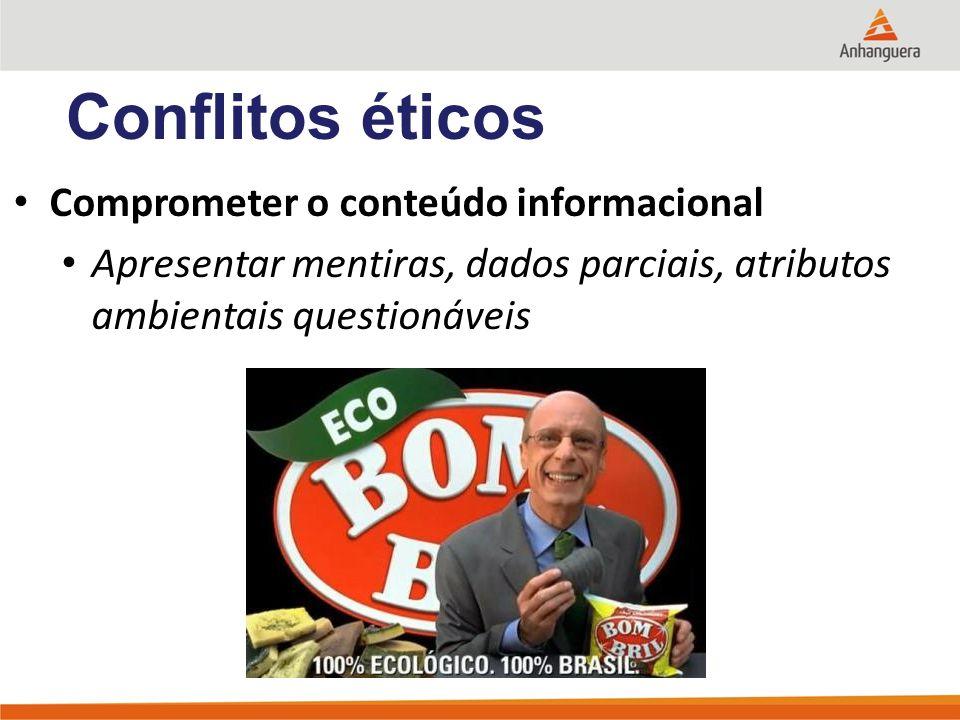 Conflitos éticos Comprometer o conteúdo informacional Apresentar mentiras, dados parciais, atributos ambientais questionáveis