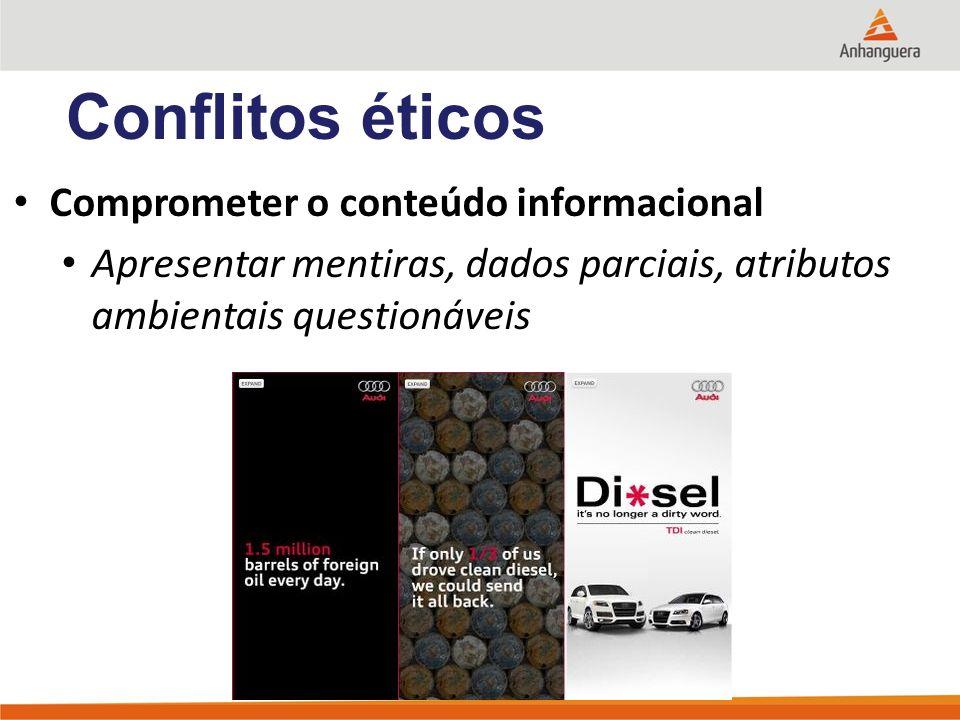 Comprometer o conteúdo informacional Apresentar mentiras, dados parciais, atributos ambientais questionáveis Conflitos éticos