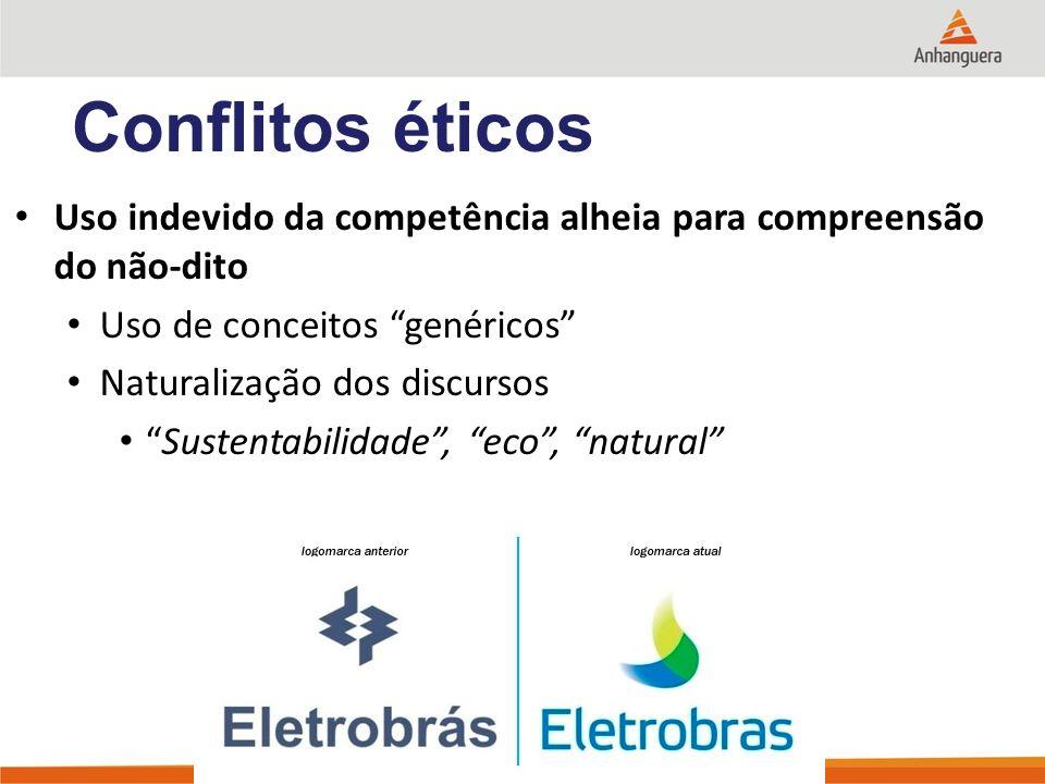 Uso indevido da competência alheia para compreensão do não-dito Uso de conceitos genéricos Naturalização dos discursos Sustentabilidade, eco, natural Conflitos éticos