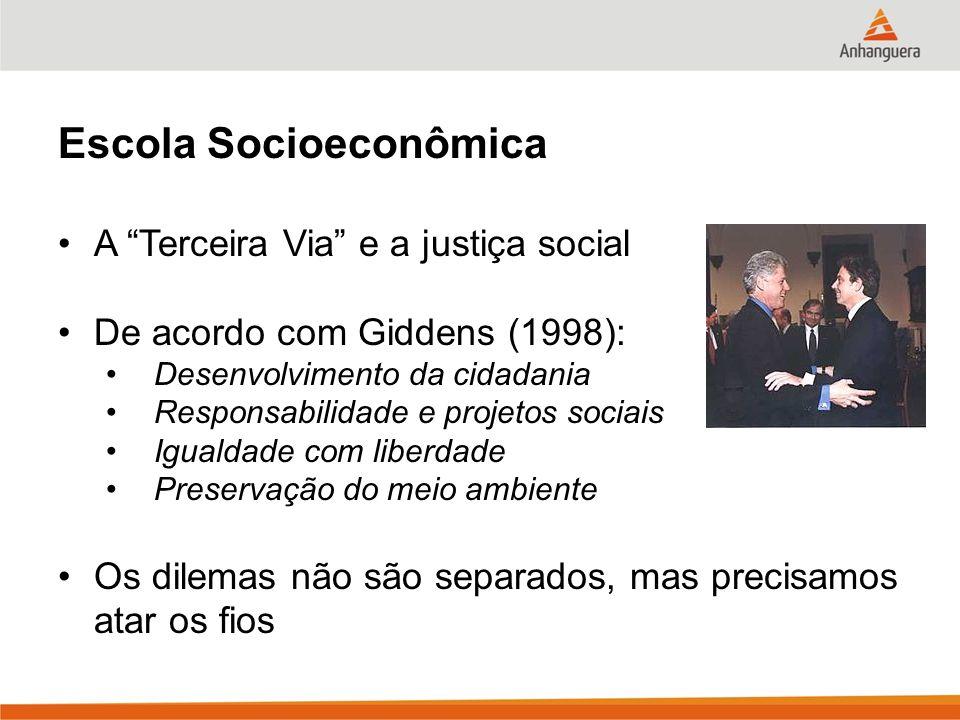 Escola Socioeconômica A Terceira Via e a justiça social De acordo com Giddens (1998): Desenvolvimento da cidadania Responsabilidade e projetos sociais Igualdade com liberdade Preservação do meio ambiente Os dilemas não são separados, mas precisamos atar os fios