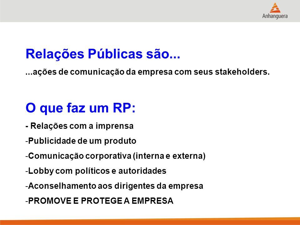 Relações Públicas são......ações de comunicação da empresa com seus stakeholders. O que faz um RP: - Relações com a imprensa -Publicidade de um produt