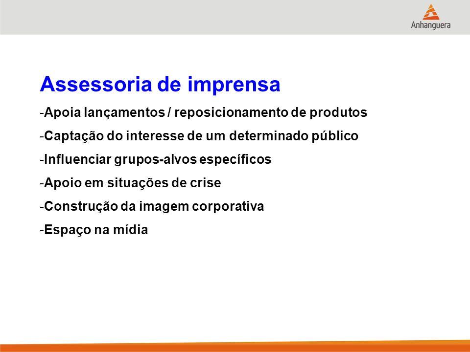 Assessoria de imprensa -Apoia lançamentos / reposicionamento de produtos -Captação do interesse de um determinado público -Influenciar grupos-alvos es