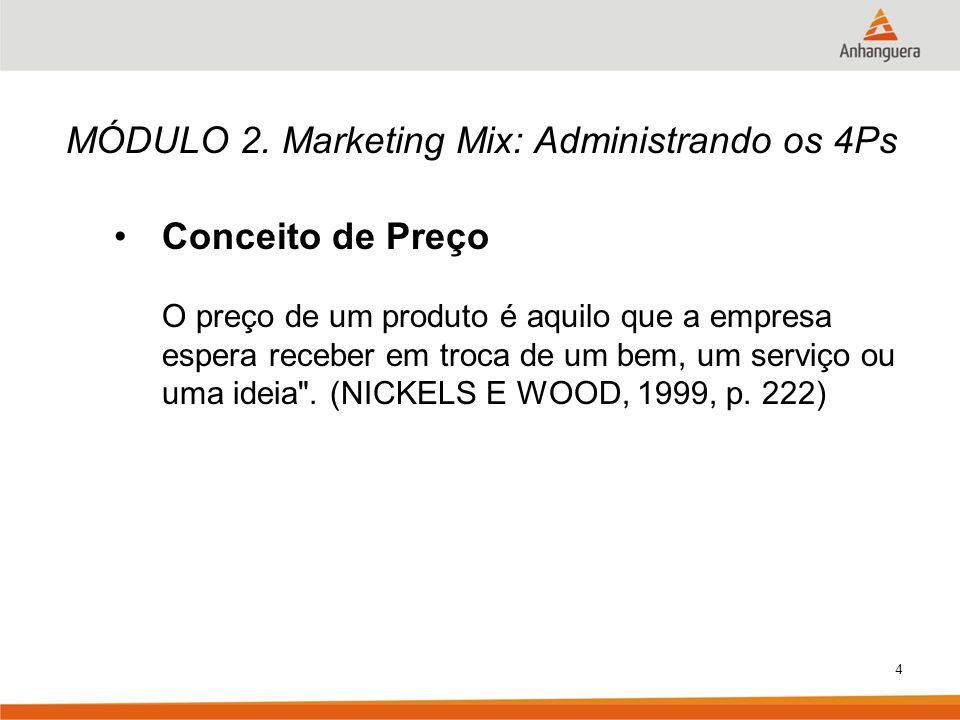 4 MÓDULO 2. Marketing Mix: Administrando os 4Ps Conceito de Preço O preço de um produto é aquilo que a empresa espera receber em troca de um bem, um s