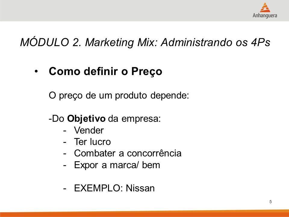 5 MÓDULO 2. Marketing Mix: Administrando os 4Ps Como definir o Preço O preço de um produto depende: -Do Objetivo da empresa: -Vender -Ter lucro -Comba