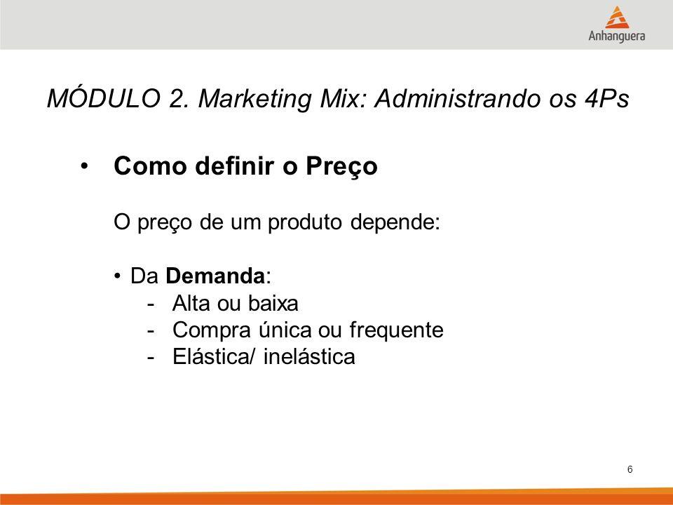 6 MÓDULO 2. Marketing Mix: Administrando os 4Ps Como definir o Preço O preço de um produto depende: Da Demanda: -Alta ou baixa -Compra única ou freque