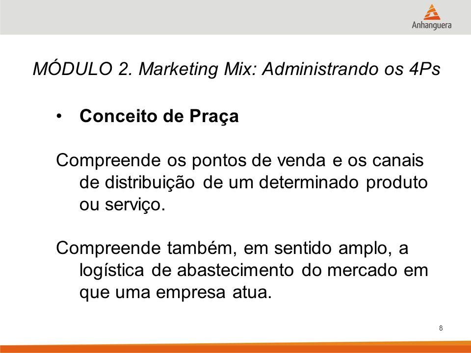 8 MÓDULO 2. Marketing Mix: Administrando os 4Ps Conceito de Praça Compreende os pontos de venda e os canais de distribuição de um determinado produto