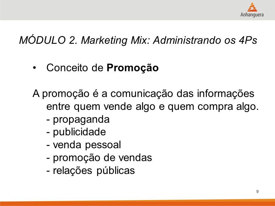 9 MÓDULO 2. Marketing Mix: Administrando os 4Ps Conceito de Promoção A promoção é a comunicação das informações entre quem vende algo e quem compra al