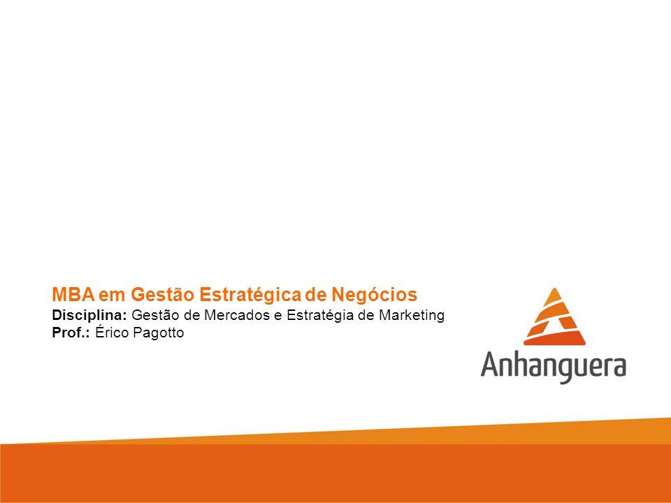MBA em Gestão Estratégica de Negócios Disciplina: Gestão de Mercados e Estratégia de Marketing Prof.: Érico Pagotto