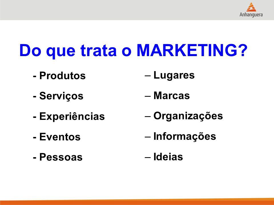 Do que trata o MARKETING? - Produtos - Serviços - Experiências - Eventos - Pessoas –Lugares –Marcas –Organizações –Informações –Ideias