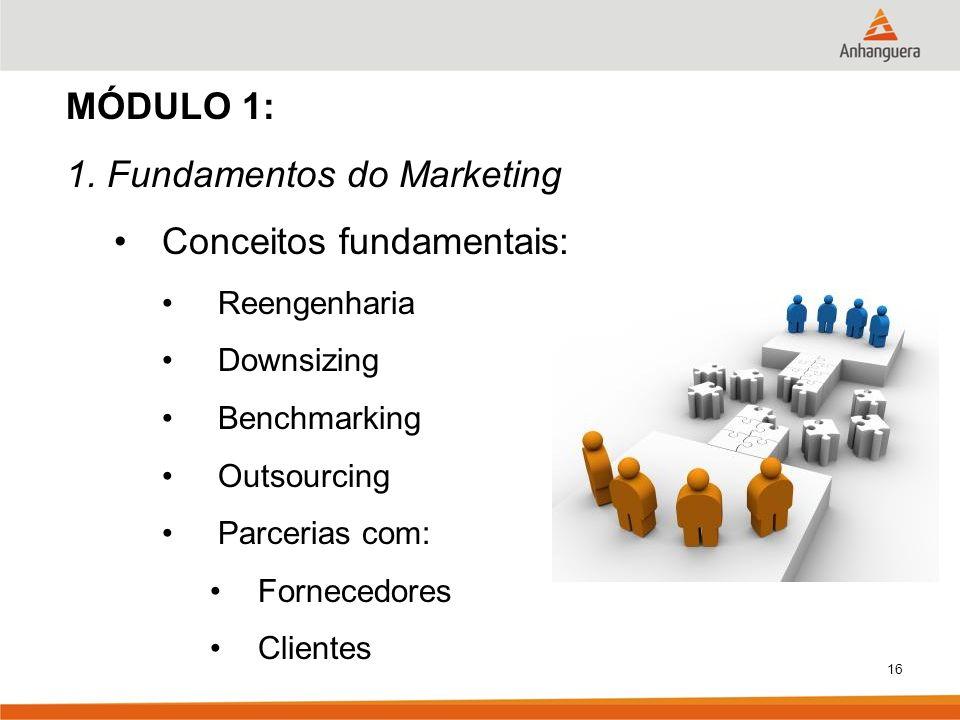 16 MÓDULO 1: 1. Fundamentos do Marketing Conceitos fundamentais: Reengenharia Downsizing Benchmarking Outsourcing Parcerias com: Fornecedores Clientes