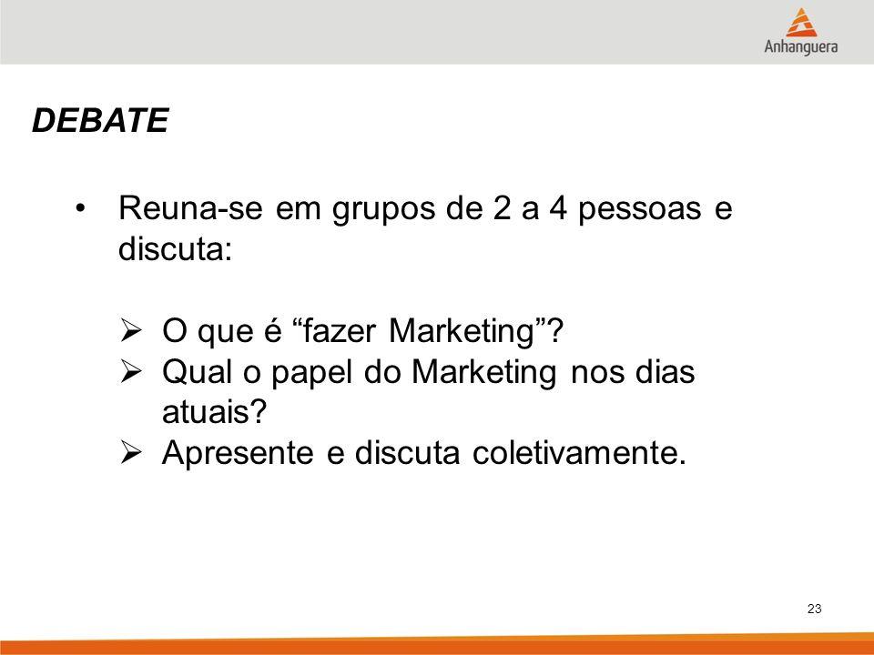 23 DEBATE Reuna-se em grupos de 2 a 4 pessoas e discuta: O que é fazer Marketing? Qual o papel do Marketing nos dias atuais? Apresente e discuta colet