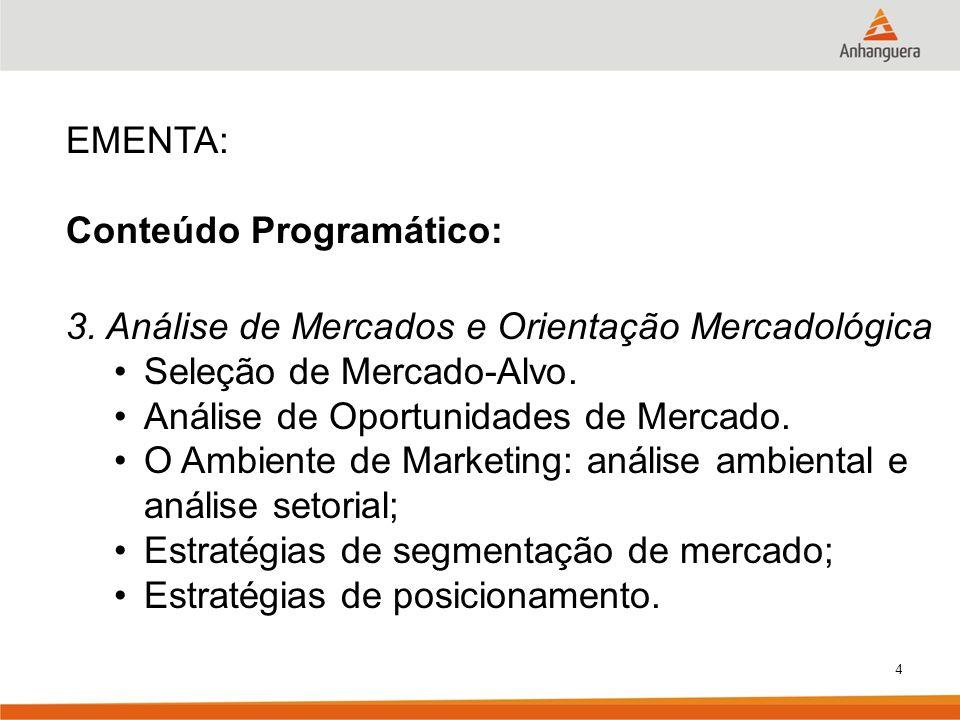 4 EMENTA: Conteúdo Programático: 3. Análise de Mercados e Orientação Mercadológica Seleção de Mercado-Alvo. Análise de Oportunidades de Mercado. O Amb
