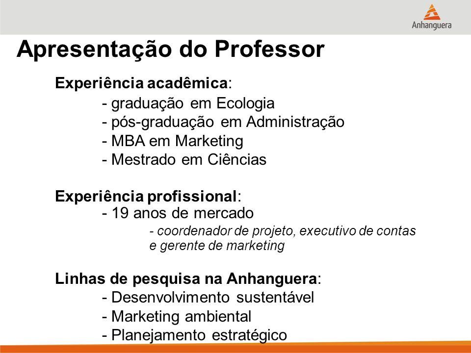 Apresentação do Professor Experiência acadêmica: - graduação em Ecologia - pós-graduação em Administração - MBA em Marketing - Mestrado em Ciências Ex