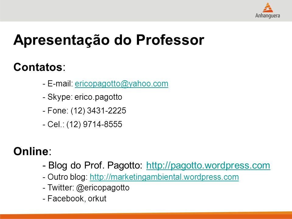 Apresentação do Professor Contatos: - E-mail: ericopagotto@yahoo.comericopagotto@yahoo.com - Skype: erico.pagotto - Fone: (12) 3431-2225 - Cel.: (12)