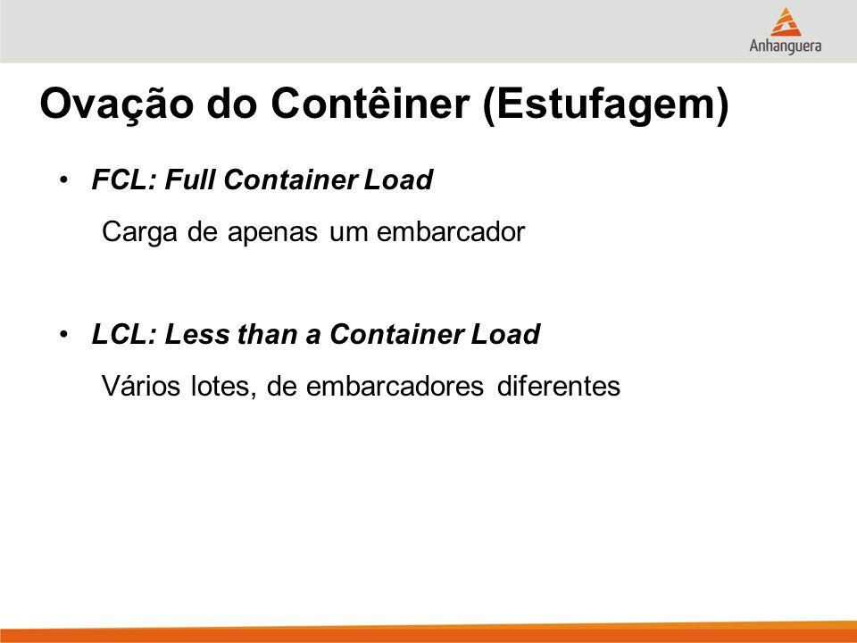 Ovação do Contêiner (Estufagem) FCL: Full Container Load Carga de apenas um embarcador LCL: Less than a Container Load Vários lotes, de embarcadores d