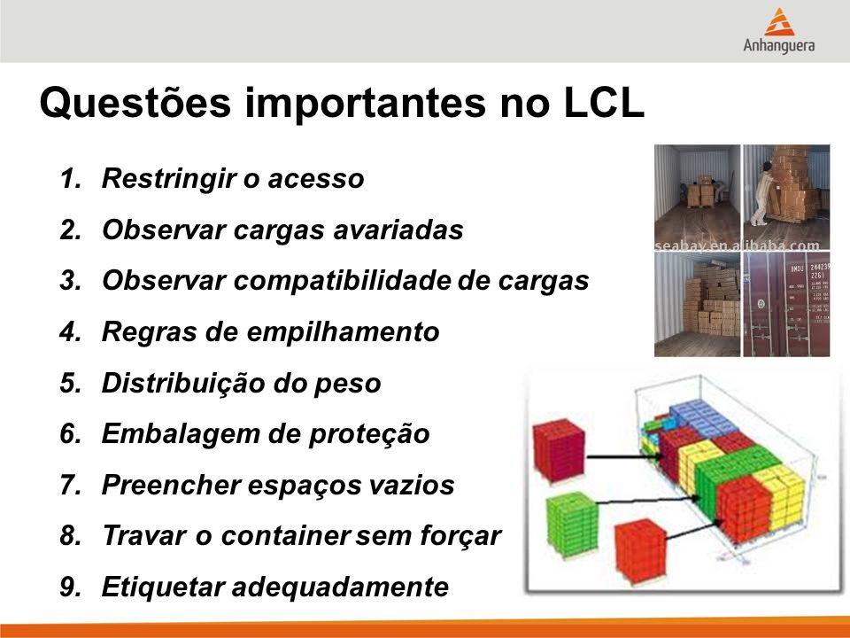 Questões importantes no LCL 1.Restringir o acesso 2.Observar cargas avariadas 3.Observar compatibilidade de cargas 4.Regras de empilhamento 5.Distribu
