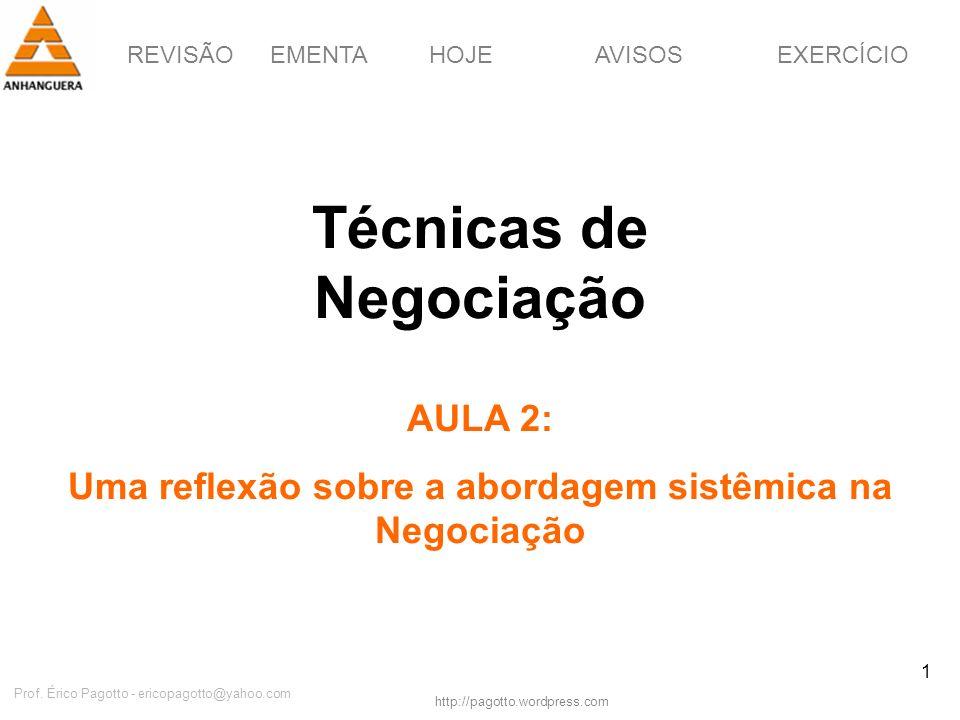 REVISÃOEMENTAHOJEEXERCÍCIOAVISOS http://pagotto.wordpress.com Prof. Érico Pagotto - ericopagotto@yahoo.com 1 Técnicas de Negociação AULA 2: Uma reflex