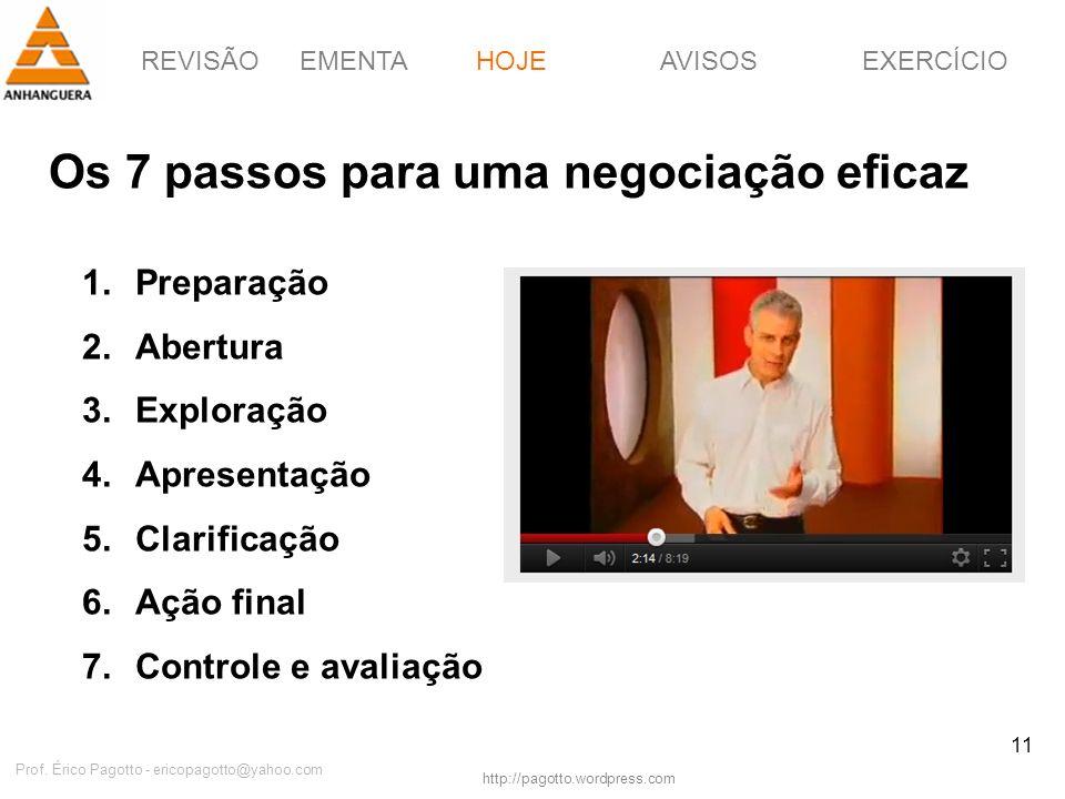 REVISÃOEMENTAHOJEEXERCÍCIOAVISOS http://pagotto.wordpress.com Prof. Érico Pagotto - ericopagotto@yahoo.com 11 Os 7 passos para uma negociação eficaz H