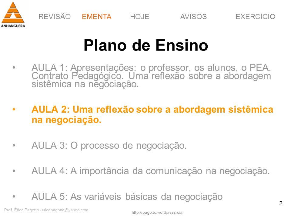 REVISÃOEMENTAHOJEEXERCÍCIOAVISOS http://pagotto.wordpress.com Prof. Érico Pagotto - ericopagotto@yahoo.com 2 Plano de Ensino AULA 1: Apresentações: o