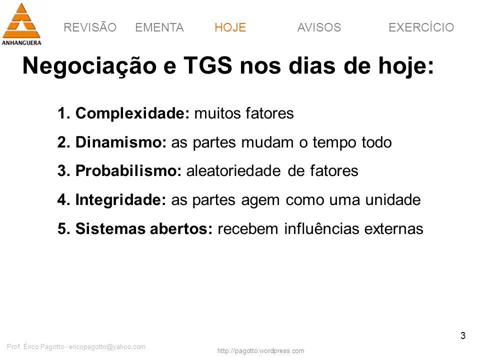 REVISÃOEMENTAHOJEEXERCÍCIOAVISOS http://pagotto.wordpress.com Prof. Érico Pagotto - ericopagotto@yahoo.com 3 Negociação e TGS nos dias de hoje: HOJE 1