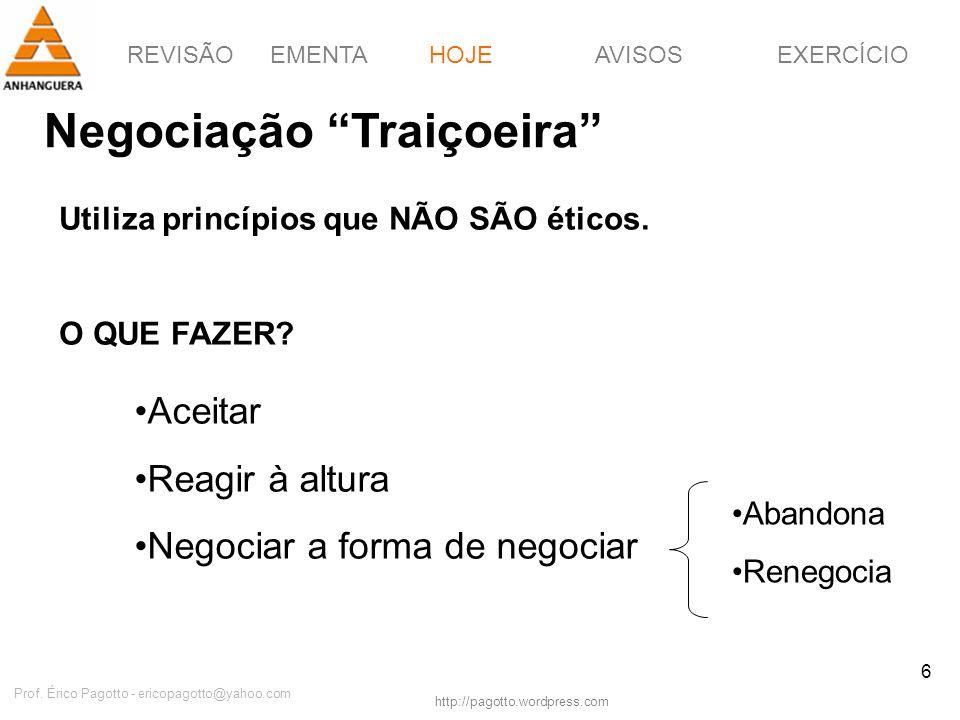 REVISÃOEMENTAHOJEEXERCÍCIOAVISOS http://pagotto.wordpress.com Prof. Érico Pagotto - ericopagotto@yahoo.com 6 Negociação Traiçoeira HOJE Utiliza princí