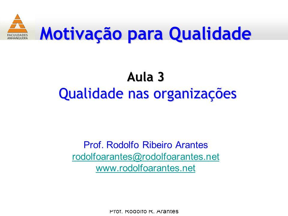Motivação para Qualidade Prof. Rodolfo R. Arantes Prof. Rodolfo Ribeiro Arantes rodolfoarantes@rodolfoarantes.net www.rodolfoarantes.net Aula 3 Qualid