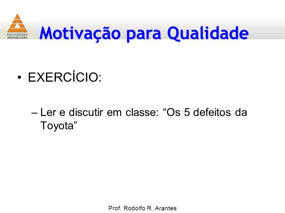 Motivação para Qualidade EXERCÍCIO: –Ler e discutir em classe: Os 5 defeitos da Toyota Prof. Rodolfo R. Arantes
