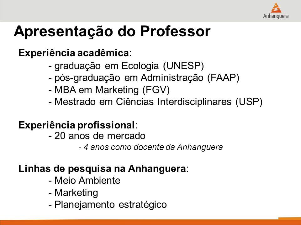 Apresentação do Professor Contatos: - E-mail: ericopagotto@yahoo.comericopagotto@yahoo.com - Skype: erico.pagotto - Fone: (12) 3431-2225 - Cel.: (12) 9714-8555 Online: - Blog do Prof.