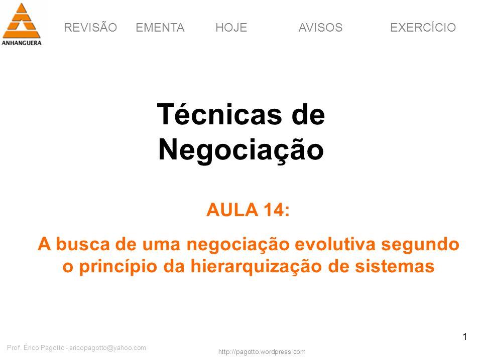 REVISÃOEMENTAHOJEEXERCÍCIOAVISOS http://pagotto.wordpress.com Prof. Érico Pagotto - ericopagotto@yahoo.com 1 Técnicas de Negociação AULA 14: A busca d