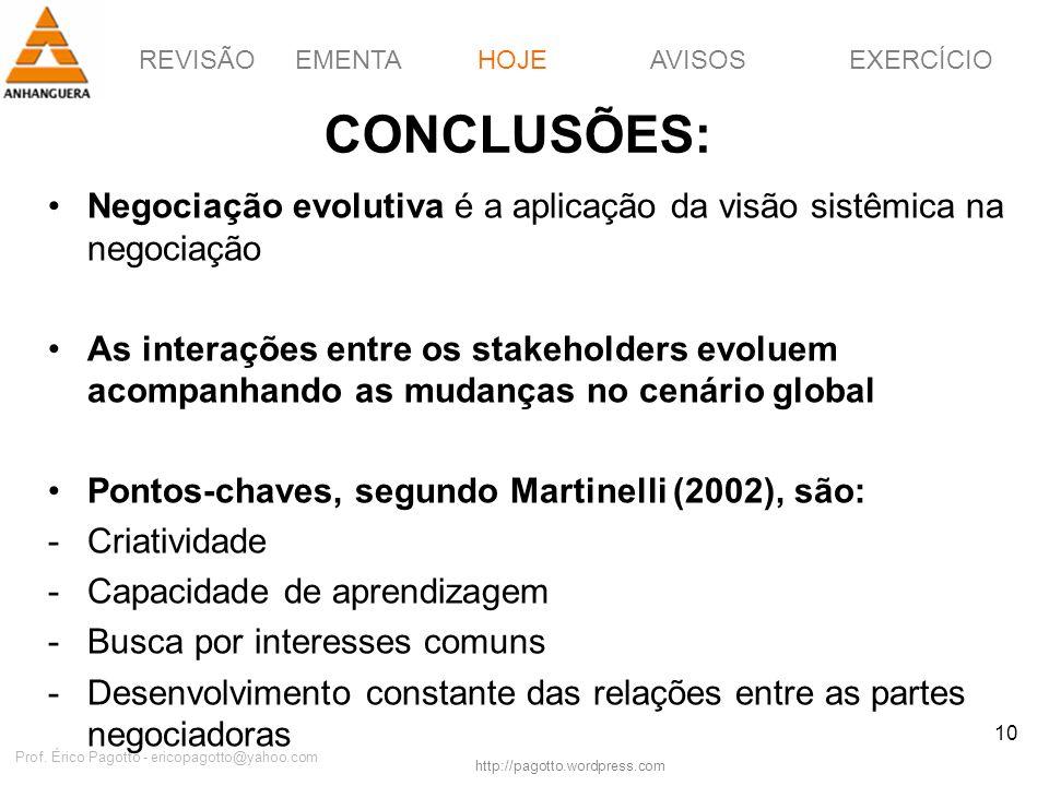 REVISÃOEMENTAHOJEEXERCÍCIOAVISOS http://pagotto.wordpress.com Prof. Érico Pagotto - ericopagotto@yahoo.com 10 CONCLUSÕES: Negociação evolutiva é a apl