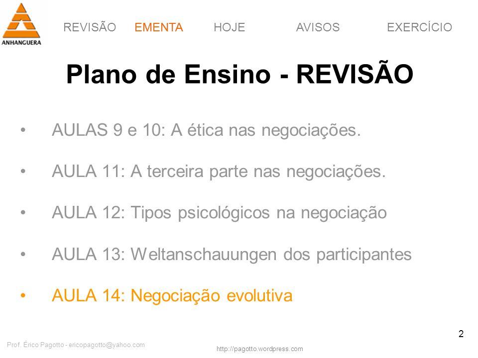 REVISÃOEMENTAHOJEEXERCÍCIOAVISOS http://pagotto.wordpress.com Prof. Érico Pagotto - ericopagotto@yahoo.com 2 Plano de Ensino - REVISÃO AULAS 9 e 10: A