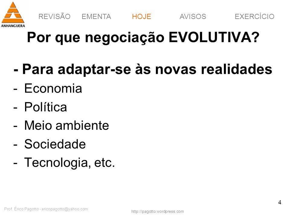 REVISÃOEMENTAHOJEEXERCÍCIOAVISOS http://pagotto.wordpress.com Prof. Érico Pagotto - ericopagotto@yahoo.com 4 Por que negociação EVOLUTIVA? - Para adap