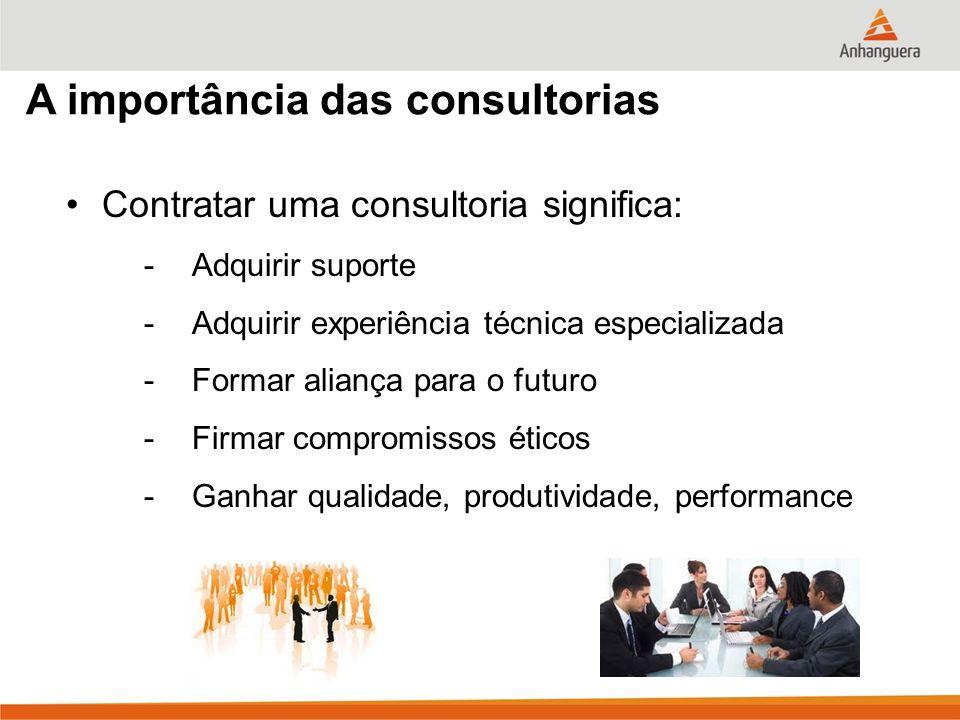A importância das consultorias Contratar uma consultoria significa: -Adquirir suporte -Adquirir experiência técnica especializada -Formar aliança para o futuro -Firmar compromissos éticos -Ganhar qualidade, produtividade, performance