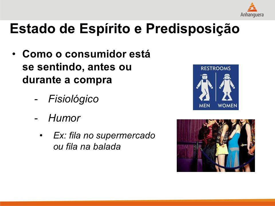 Estado de Espírito e Predisposição Como o consumidor está se sentindo, antes ou durante a compra -Fisiológico -Humor Ex: fila no supermercado ou fila na balada
