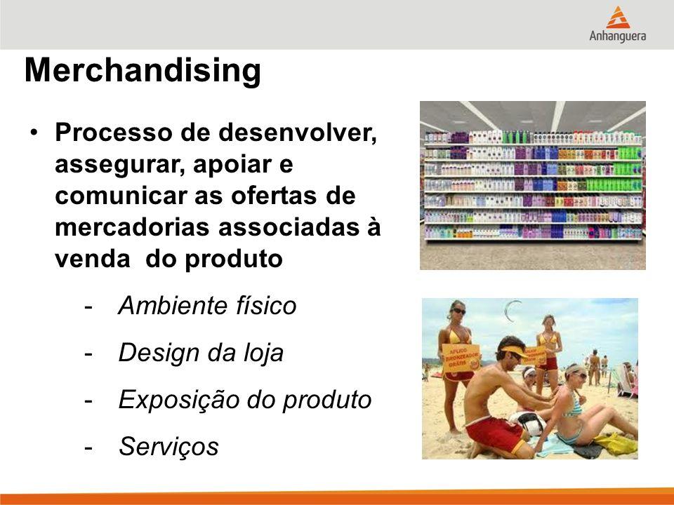 Merchandising Processo de desenvolver, assegurar, apoiar e comunicar as ofertas de mercadorias associadas à venda do produto -Ambiente físico -Design da loja -Exposição do produto -Serviços