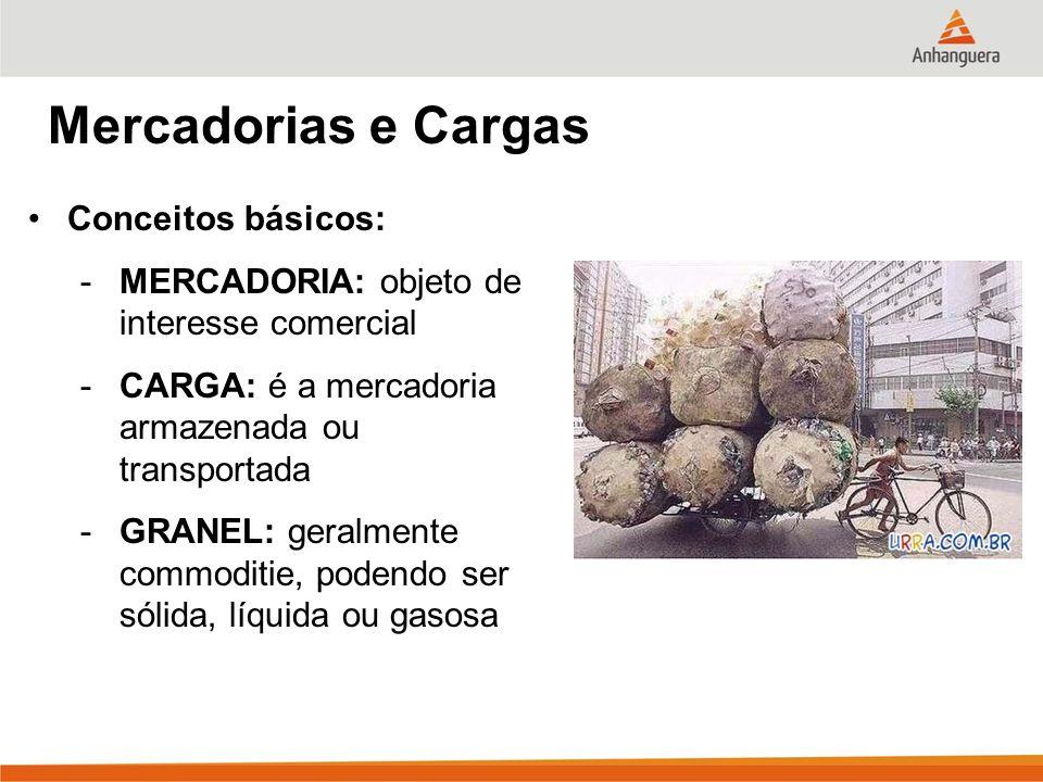 Mercadorias e Cargas Conceitos básicos: -MERCADORIA: objeto de interesse comercial -CARGA: é a mercadoria armazenada ou transportada -GRANEL: geralmen