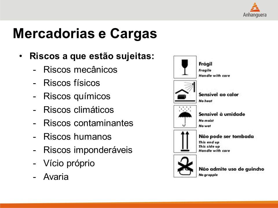 Mercadorias e Cargas Riscos a que estão sujeitas: -Riscos mecânicos -Riscos físicos -Riscos químicos -Riscos climáticos -Riscos contaminantes -Riscos