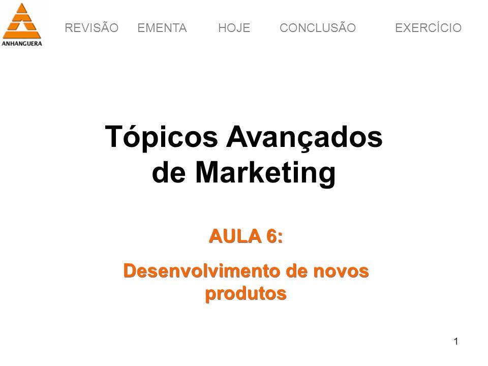 REVISÃOEMENTAHOJEEXERCÍCIOCONCLUSÃO 1 Tópicos Avançados de Marketing AULA 6: Desenvolvimento de novos produtos AULA 6: Desenvolvimento de novos produt