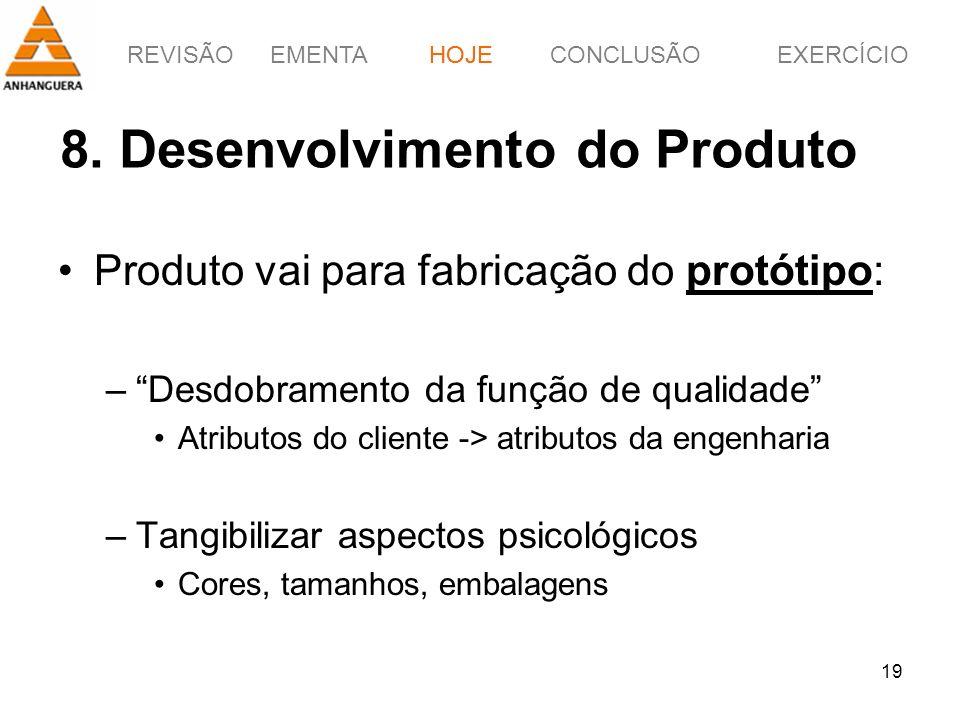 REVISÃOEMENTAHOJEEXERCÍCIOCONCLUSÃO 19 8. Desenvolvimento do Produto HOJE Produto vai para fabricação do protótipo: –Desdobramento da função de qualid