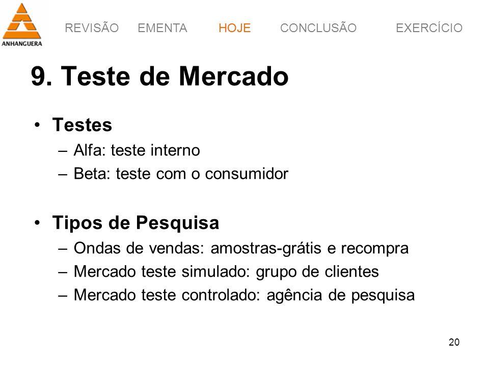 REVISÃOEMENTAHOJEEXERCÍCIOCONCLUSÃO 20 9. Teste de Mercado HOJE Testes –Alfa: teste interno –Beta: teste com o consumidor Tipos de Pesquisa –Ondas de
