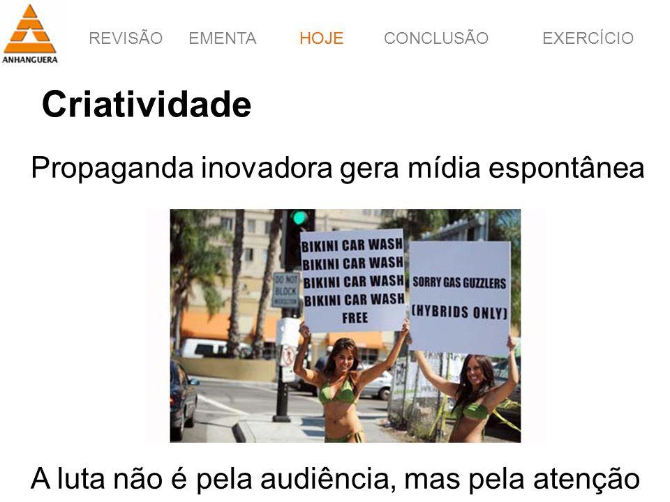 REVISÃOEMENTAHOJEEXERCÍCIOCONCLUSÃO 3 Criatividade HOJE Propaganda inovadora gera mídia espontânea A luta não é pela audiência, mas pela atenção