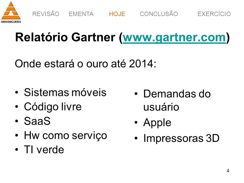 REVISÃOEMENTAHOJEEXERCÍCIOCONCLUSÃO 4 Relatório Gartner (www.gartner.com)www.gartner.com HOJE Onde estará o ouro até 2014: Sistemas móveis Código livr