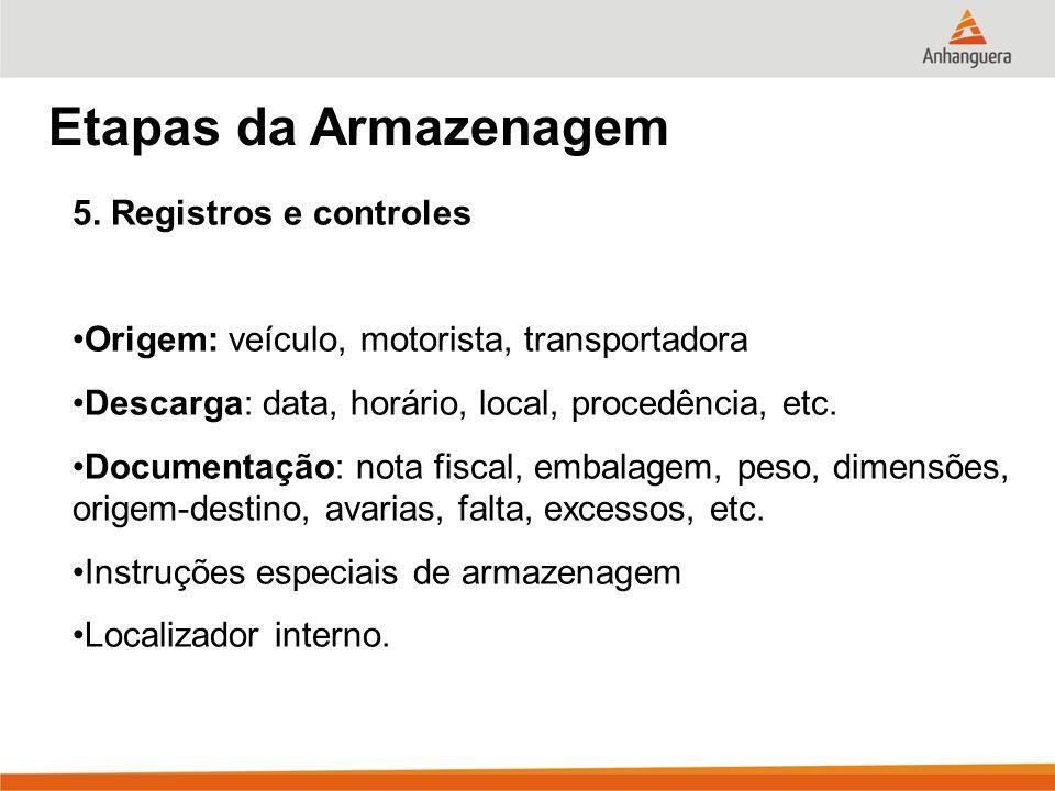 Etapas da Armazenagem 5. Registros e controles Origem: veículo, motorista, transportadora Descarga: data, horário, local, procedência, etc. Documentaç