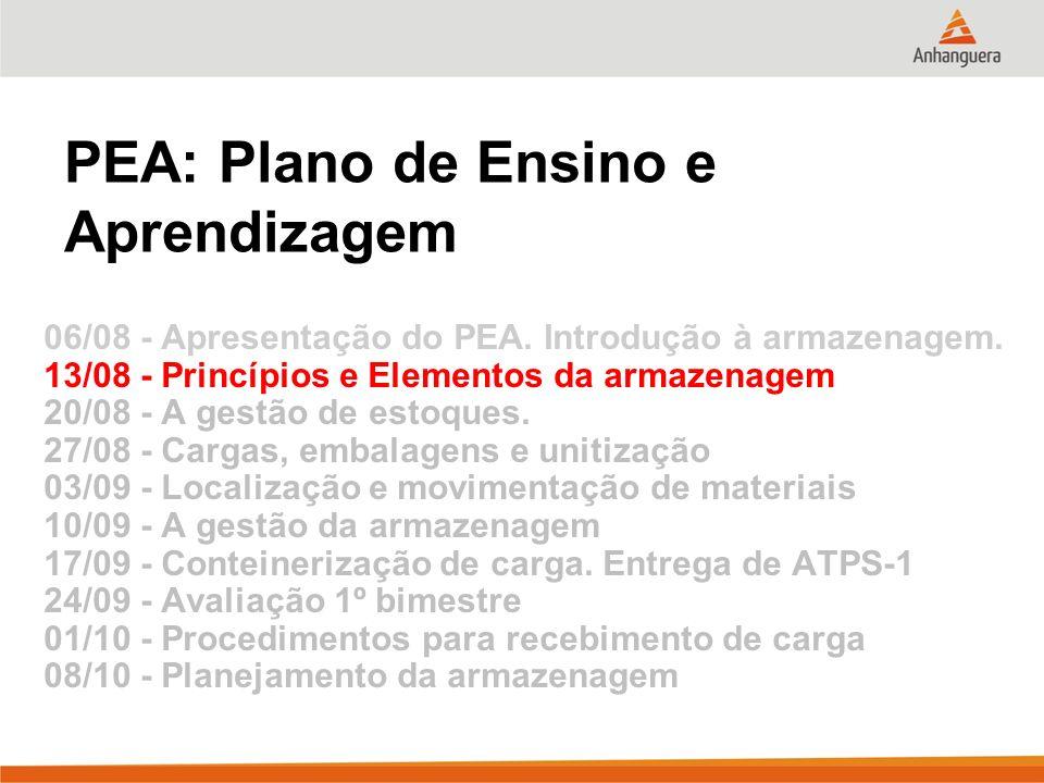PEA: Plano de Ensino e Aprendizagem 06/08 - Apresentação do PEA. Introdução à armazenagem. 13/08 - Princípios e Elementos da armazenagem 20/08 - A ges