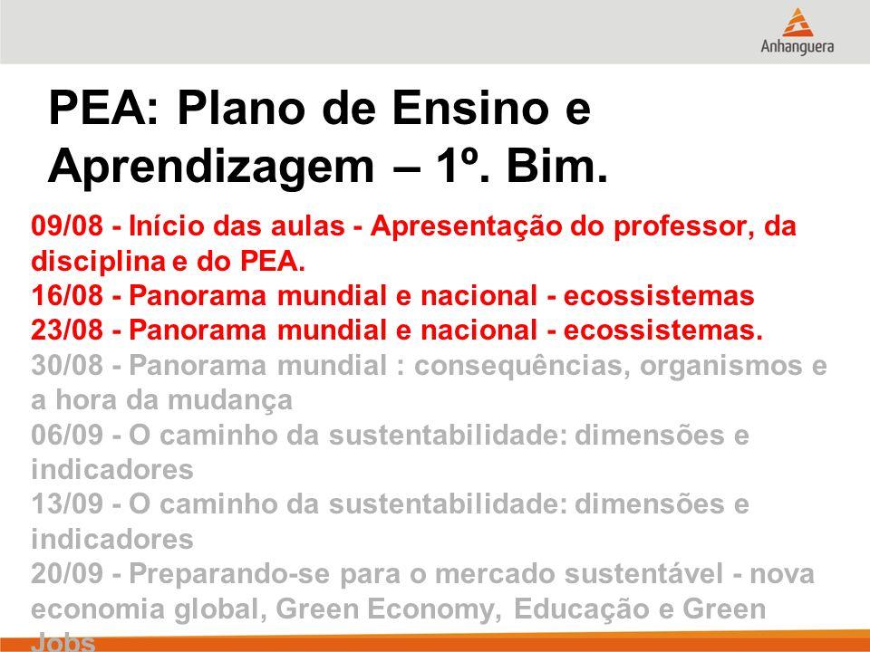 PEA: Plano de Ensino e Aprendizagem – 1º. Bim. 09/08 - Início das aulas - Apresentação do professor, da disciplina e do PEA. 16/08 - Panorama mundial