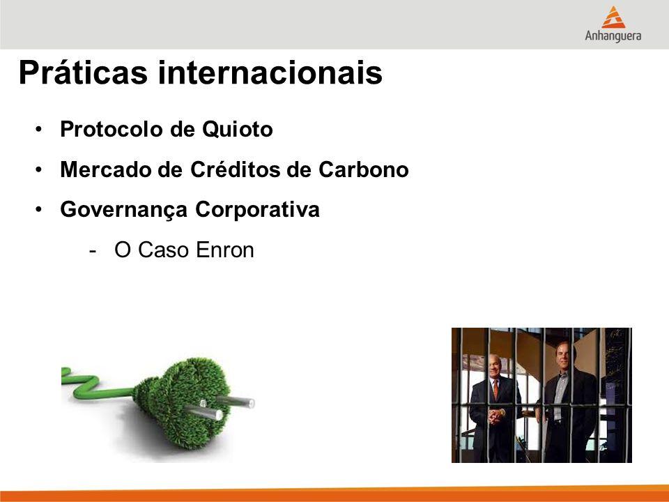 Práticas internacionais Protocolo de Quioto Mercado de Créditos de Carbono Governança Corporativa -O Caso Enron